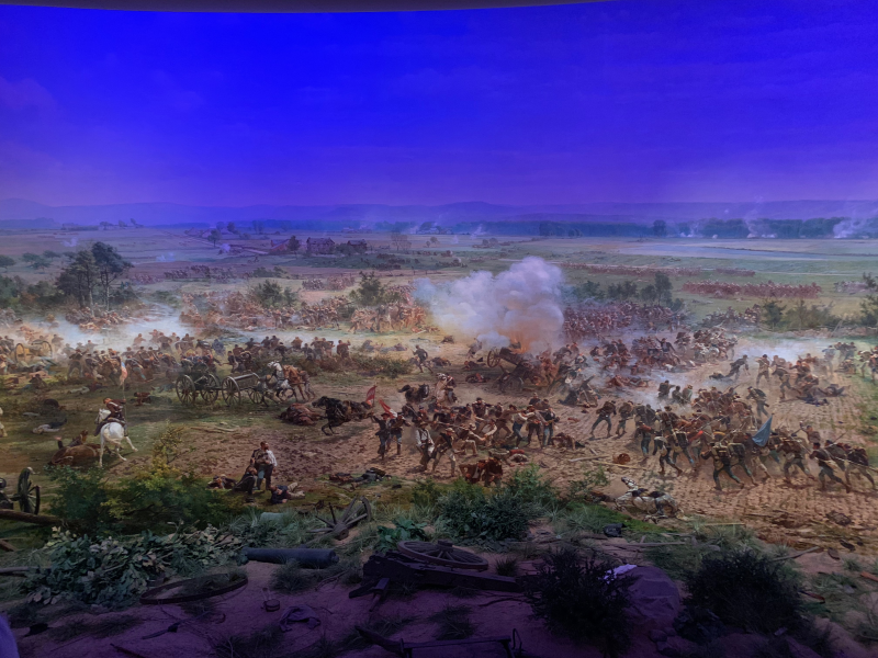 Exploration begins at the visitors center and Cyclorama—a 360° oil painting of the battle scene