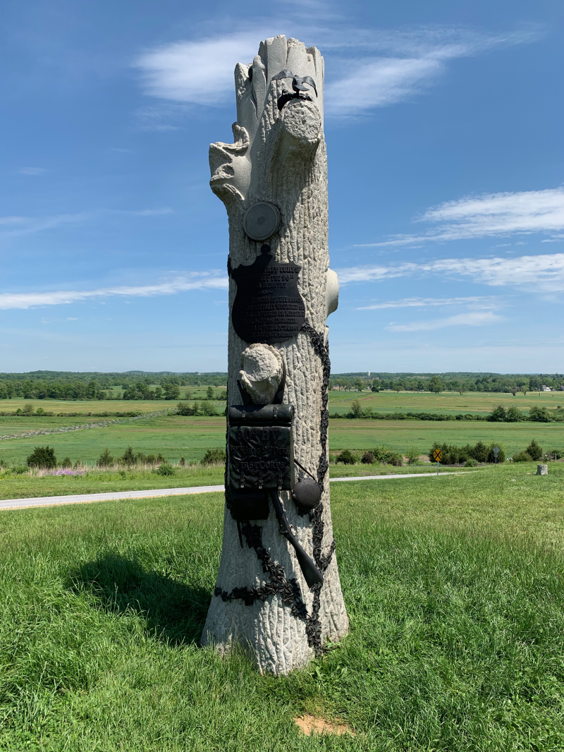 The Granite Tree monument of the 90th Pennsylvania Infantry at Gettysburg recalls the story of soldiers restoring a bird's nest to a tree hit by artillery fire
